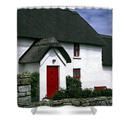 Red Door Thatched Roof Shower Curtain