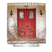 Red Doors - Charming Old Doors On The Abandoned House Shower Curtain