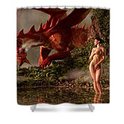 Red Dragon And Nude Bather Shower Curtain