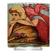 Red Dust Mermaid Shower Curtain