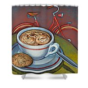 Red Dutch Bicycle With Cappuccino And Amaretti Shower Curtain