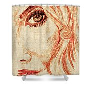 Red Eyes.  Shower Curtain