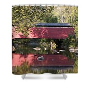 Red Fairhill Covered Bridge Two Shower Curtain