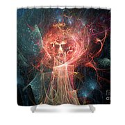 Red Fire Angels With Tower #1 Shower Curtain