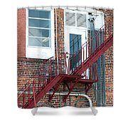 Red Fire Escape Usa II Shower Curtain