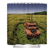 Red Firetruck In The Field Shower Curtain