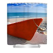 Red Fishing Boat Algarve Portugal Shower Curtain