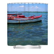 Red Fishing Boat Shower Curtain