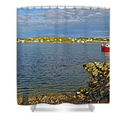 Red Fishing Boat In Twillingate Harbour-nl Shower Curtain