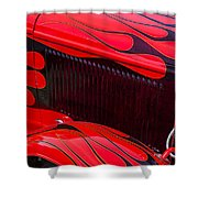 Red Flames Hot Rod Shower Curtain by Garry Gay