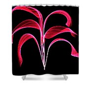 Red Flaring Plant Shower Curtain