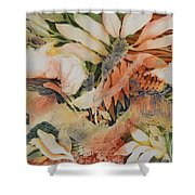 Red Floral Shower Curtain