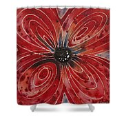 Red Flower 2 - Vibrant Red Floral Art Shower Curtain