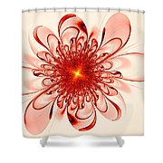 Single Red Flower Shower Curtain