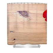 Red Flower On Wood  Shower Curtain