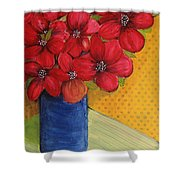 Red Flowers In A Blue Vase Shower Curtain