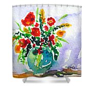 Red Flowers In A Vase Shower Curtain