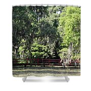 Red Footbridge Over Green Water Shower Curtain