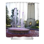 Red Fountain And Hoover Tower Stanford University Shower Curtain
