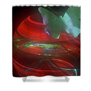 Red Fractal Bowl With Butterfly Shower Curtain