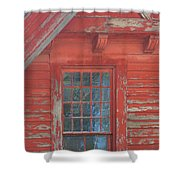 Red Gable Window Shower Curtain