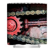 Red Gear Wheel And Chain Of Old Locomotive Shower Curtain by Matthias Hauser