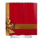 Red Gift Background With Gold Ribbon Shower Curtain
