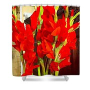 Red Glads Blooming Shower Curtain