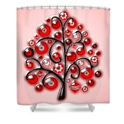 Red Glass Ornaments Shower Curtain