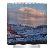 Red Glow In A Sea Of White - Panorama Shower Curtain