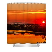 Red Glow Shower Curtain by Robert Bales