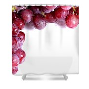 Red Grapes With White Copy Space Shower Curtain