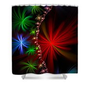 Red Green And Blue Fractal Stars Shower Curtain