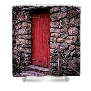 Red Grist Mill Door Shower Curtain