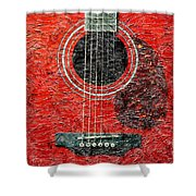 Red Guitar Center - Digital Painting - Music Shower Curtain
