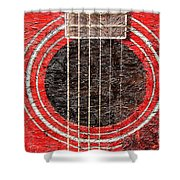 Red Guitar - Digital Painting - Music Shower Curtain