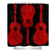 Red Guitars Shower Curtain
