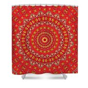 Red Gum Flowers Mandala Shower Curtain