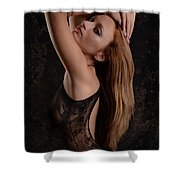 Red Hair Black Lace Shower Curtain