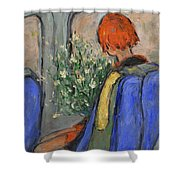 Red-haired Girl On A Sydney Train Shower Curtain