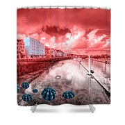 Red Harbouring  Shower Curtain