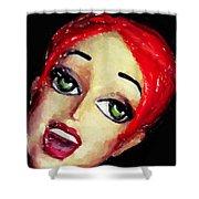 Red Head Around Corner Shower Curtain