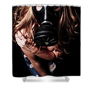 Red Head Gas Mask Shower Curtain