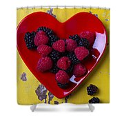 Red Heart Dish And Raspberries Shower Curtain