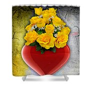 Red Heart Vase With Yellow Roses Shower Curtain