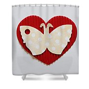 Red Heart With Butterfly Shower Curtain