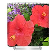 Red Hibiscus And Purple Blossoms Shower Curtain