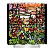 Stained Glass Tiffany Red Hollyhocks In Landscape In Watercolor Shower Curtain