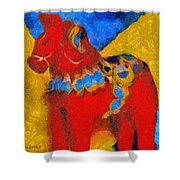 Red Horse Shower Curtain