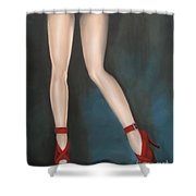 Red Hot Pumps Shower Curtain by Jindra Noewi